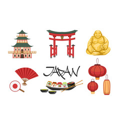 collection japan traditional cultural symbols vector image