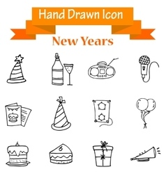 Collection of New Year object hand draw vector image