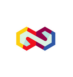 colorful hexagon infinite logo vector image