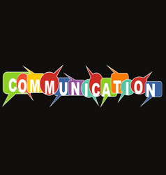 communication banner with multicolored speech vector image