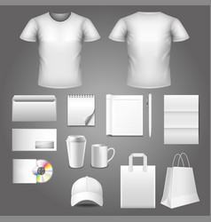 corporate identity template photo realistic set vector image