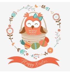 Cute easter owl vector