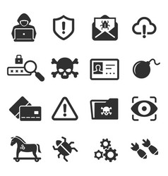Cybercrime icons set cyber hackers attacks on vector