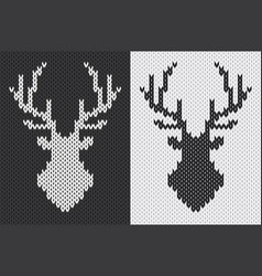 deer head silhouette knitted pattern vector image