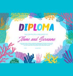 Diploma with underwater seaweeds template vector