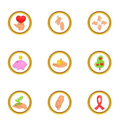 Donate day icons set cartoon style vector