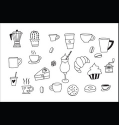 doodle hand drawn with coffee icons doodle set vector image