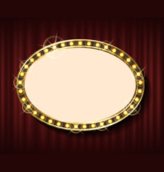 empty frame on red curtain blank banner vector image