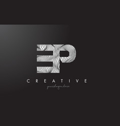 ep e p letter logo with zebra lines texture vector image