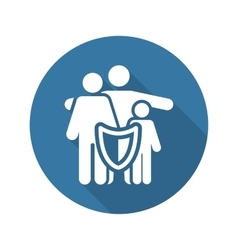 Family Insurance Solutions and Services Icon Flat vector image