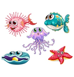 Five sea creatures vector image