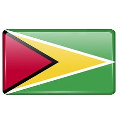 Flags Guyana in the form of a magnet on vector