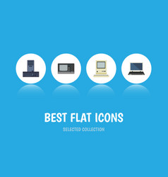 Flat icon computer set of vintage hardware vector