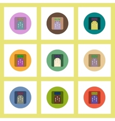 Flat icons Halloween set of party door concept on vector