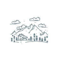 Flat line concept with house trees and mountains vector