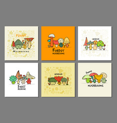 funny mushrooms banner set for your design vector image