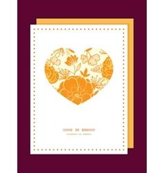 golden art flowers heart symbol frame pattern vector image