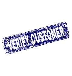 Grunge verify customer framed rounded rectangle vector