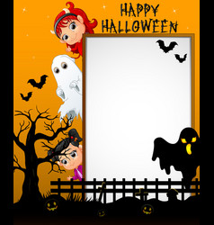 Halloween sign with little white ghost and little vector