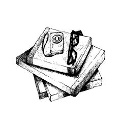 Hand drawn stack of books with camera and glasses vector