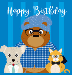 happy birthday card with cute animals vector image