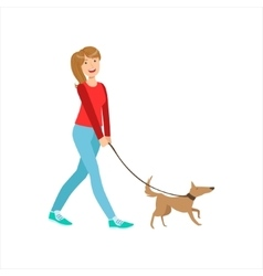Happy Girl Walking Small Pet Dog On The Leash vector