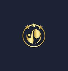 Happy man winner star abstract gold logo vector
