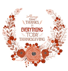 Happy Thanksgiving Day greeting card bird and hand vector image