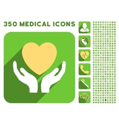 Heart Care Hands Icon and Medical Longshadow Icon vector image