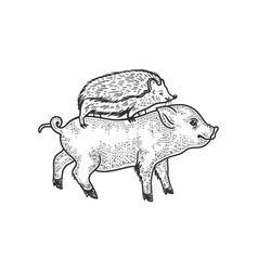 Hedgehog riding a pig sketch vector