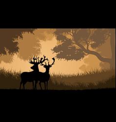 horizontal wild animals in wood vector image
