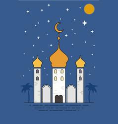 Islamic sheikh grand mosque eid mubarak greetings vector