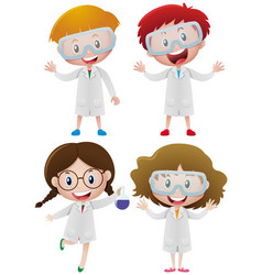 kids in science gown and goggles vector image