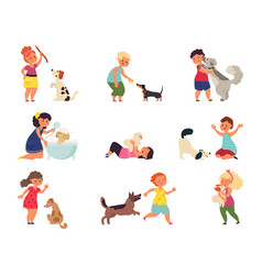Kids with dogs pet playing girl boy petting dog vector