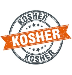 Kosher round orange grungy vintage isolated stamp vector