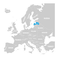 latvia marked by blue in grey political map of vector image