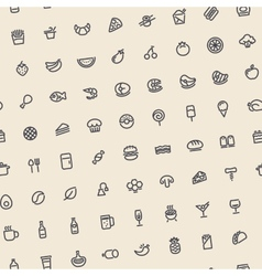 Light Tilted Seamless Pattern with Dark Food Icons vector image