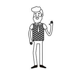 Line cute man with hand up and nice wear vector