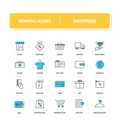 Line icons set shopping vector