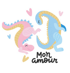 lovely playng two dinosaurs with heart joying to vector image