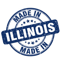 made in illinois blue grunge round stamp vector image vector image