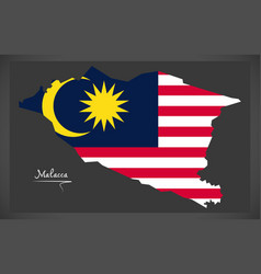 Malacca malaysia map with malaysian national flag vector