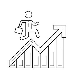 man running up the career ladder line icon vector image