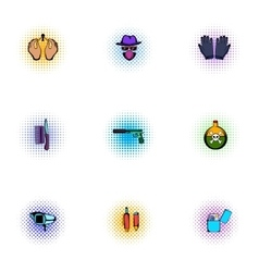 Manhunt icons set pop-art style vector image