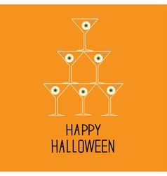 Martini glasses pyramid with eyeballs Halloween vector image