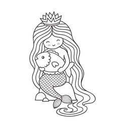 mermaid little queen with crown and long vector image