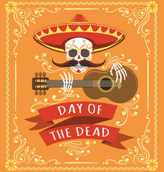 mexican dead day poster vector image