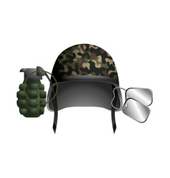 Military helmet grenade and dog tag plate vector