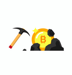 mining bitcoin in blackstone with pickaxe flat vector image
