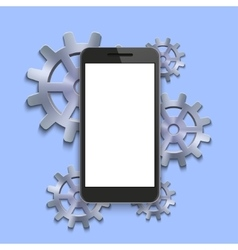 modern smartphone with mechanism cog vector image
